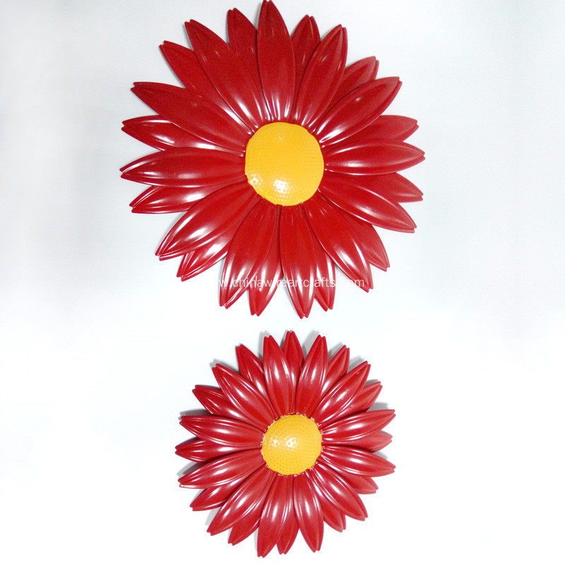 Metal Red Sunflower Wall Decor