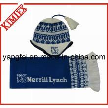 Jacquard Acryl Strickmütze Schal Handschuh