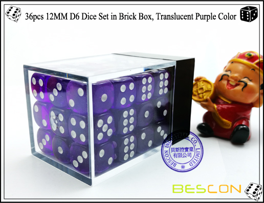 36pcs 12MM D6 Dice Set in Brick Box, Translucent Purple Color-3