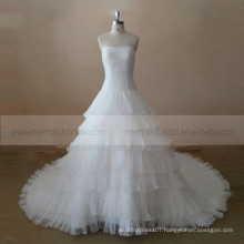 Glamourous boat neck ruffle multi-layers with beads ball wedding dress with a long train