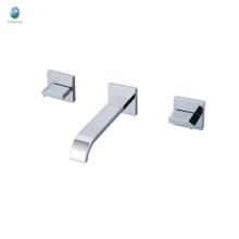 Baño de diseño especial KI-20 con manijas cuadradas dobles Grifería de ducha de bañera con manija de latón pulido cromado