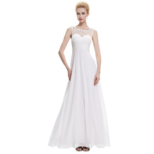 Starzz Sleeveless White Chiffon Long Simply Bridesmaid Dresses ST000060-2