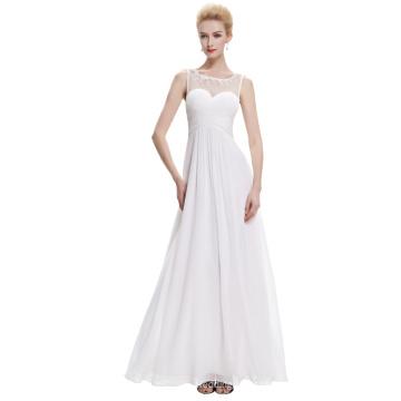 Starzz Sleeveless White Chiffon Long Simply Bridesmaid Dresses ST000060-2