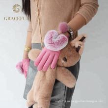 Горячая распродажа осень зима теплая леопарда меховые перчатки