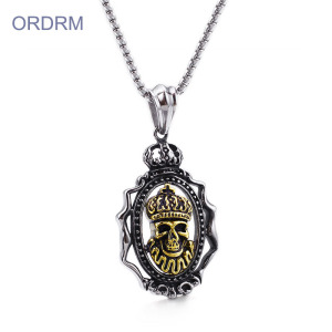 Stainless Steel Mens Skull Pendant Necklace