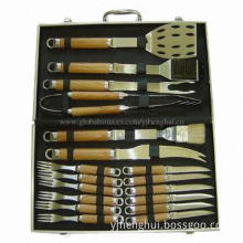 BBQ tool set with aluminum case, easy to carry