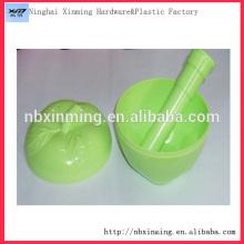 Plastic apple shape salad bowl with lid