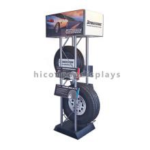 Tienda de venta minorista de neumáticos Diseño de interiores Suelo de pie de metal Tienda de automóviles Rueda de coche Pantalla de los neumáticos