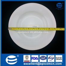 Hotel verwendet flache Kante weiße Keramik dauerhafte 12oz tiefe Suppe Platte