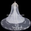 Appliqued flores Tulle encaje vestido de boda musulmán sirena