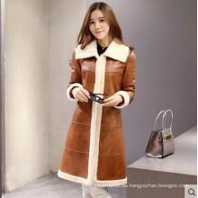 Abrigo largo de piel y piel de cordero para mujer