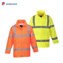 Meilleure vente Mens Salut-Vis réfléchissant manteau de pluie imperméable à capuche veste avec des poches jaune Orange sécurité
