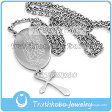 Silver Cutting Large Holy Virgin Mary Medal 316 Stainless Steel Our Lady Prayer Wholesale Cross Link Chain Necklace