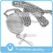 Corte de prata Grande Virgem Maria Medalha de Aço Inoxidável 316 Nossa Senhora Oração Atacado Cruz Cadeia Colar de Corrente