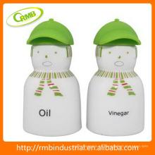 Aceite y vinagre con tapa de silicona, calcomanía verde
