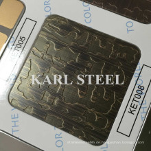 Hohe Qualität 201 Edelstahl Farbe Ket008 geätzten Blatt