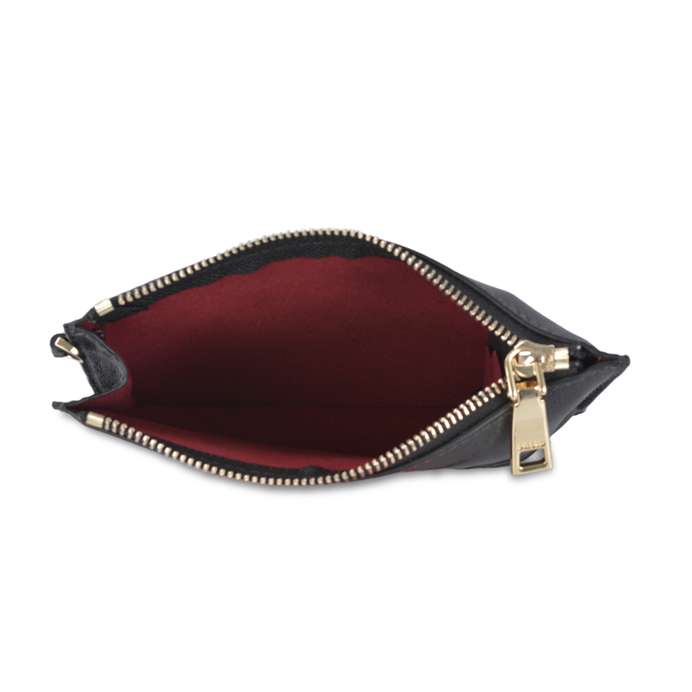 Leather Trim Small Wristlet Clutch Purse