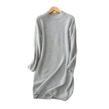 Vestido de punto 100% de la cachemira de las mujeres O cuello mangas largas color sólido por encima de los vestidos del suéter de la rodilla para el invierno / el otoño