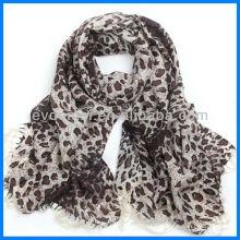 Fashion lady printing léopard foulard laine