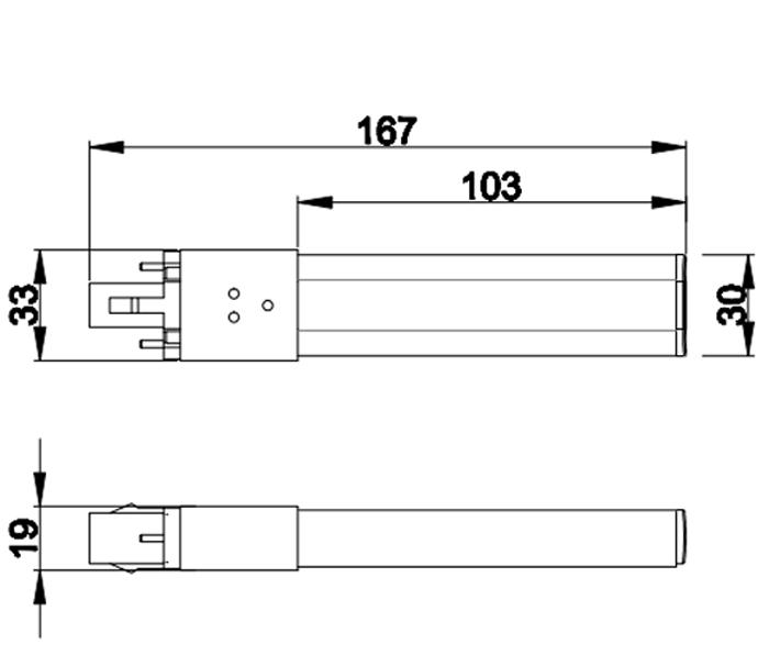 PL-G23-12-6W G23 LED Tube Light PL Light size