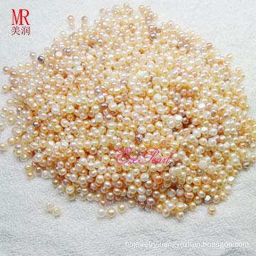6-7mm Half Drilled Beads Pearls, Button Round