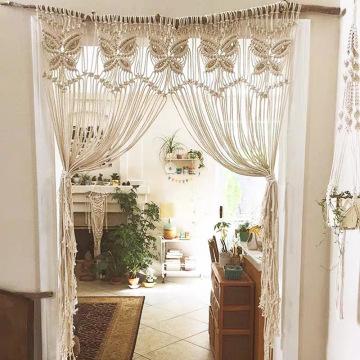 Cortina de porta em macrame artesanal durável e robusta bonita