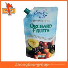 Embalagem de alimentos guangzhou fornecedor ziplock bolsa de bebida reutilizável com bico para suco de frutas