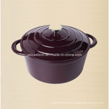 Purple Enamel Cast Iron Dutch Oven with Ss Knob Dia 20cm