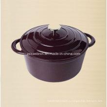 Фиолетовая эмаль Чугунная голландская духовка с ручкой Ss Dia 20см