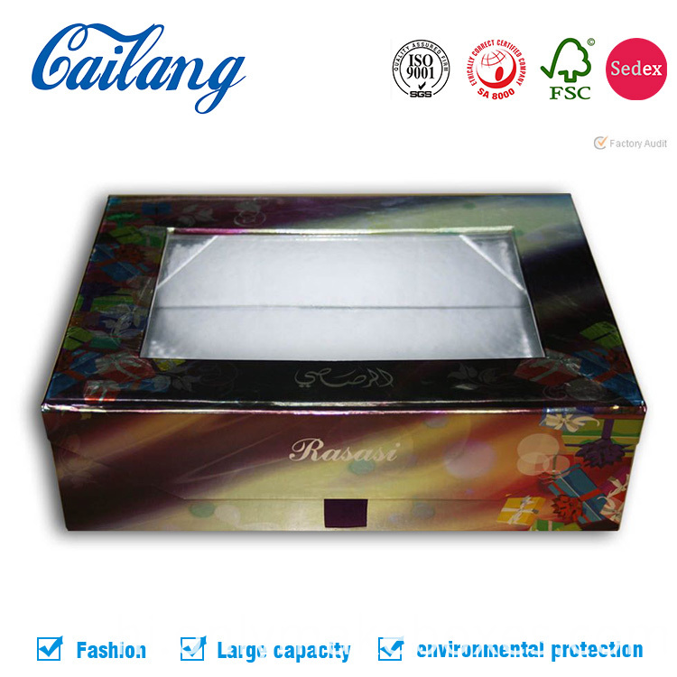 Collapsible Rigid Cardboard Paper packaging box for apparel craft storage