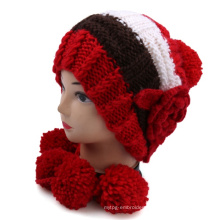 High Quality Hand Knit Winter Warm Hat with Flower POM POM