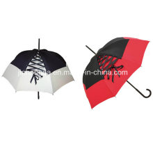 Logo Printed Ribbon Kuppelabdeckung gerader Regenschirm (YSC0008)