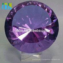 Presse-papiers de diamant en cristal violet de haute qualité pour les souvenirs de mariage