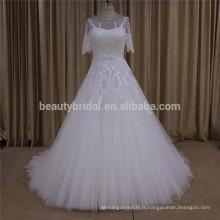 SL393 nouveaux arrivent des paillettes à manches courtes perlées une robe de mariée en ligne robe de mariée