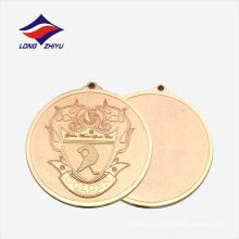 Medalha de metal dourado de liga de zinco redondo com fita