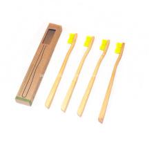 Conjunto de viagem de escova de dentes de bambu de 4 pacotes