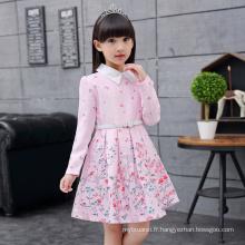 Hiver A-ligne collection pour enfants robes avec ceinture broderie pleine manches vêtements peter pan collier belle automne