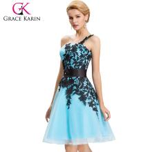 2016 Grace Karin Nova Cor Sexy Short One Shoulder Cheap Vestidos Cocktail Azul CL4288-5
