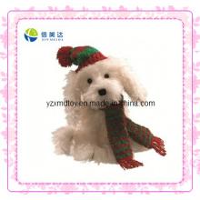 Brinquedo branco do cão do Natal da peluche (XDT-0037Q)