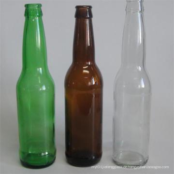 Hochwertige runde Bernsteinfarbene Glasbierflasche