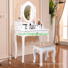 White Vanity Jewelry Makeup Dressing Table Set with stool