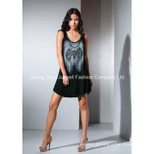 Knit Rayon impressão frisado Moda Mini Vestido Mulher