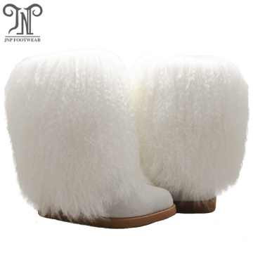 Women Sheepskin Mid Calf Slip On Winter Boots