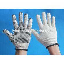 10 gauge blanqueado luvas de algodão branco com pontos de pvc na palma de um lado