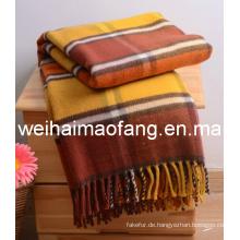 Gesponnene Wolle mit Fransen reiner Schurwolle werfen (NMQ-WT044)