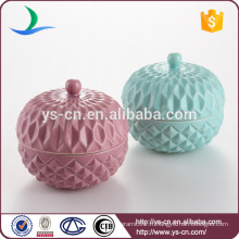 Embossed Beautiful Ceramic Container With Lid For Home