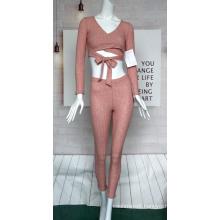 Women's V-neck Belted Long-sleeved Suit