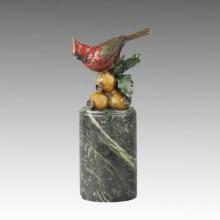 Tier Vogel Statue Birdle und Granatapfel Bronze Skulptur, Milo Tpal-299