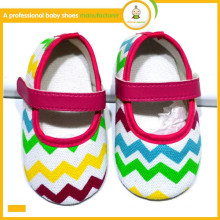 Dropship baby girls dress coloré chevron ruban bow berceau chaussures bébé 0-18M