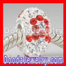 European Swarovski Crystal Charm With Pink Silk Ribbon Design
